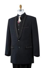 Mens Polka Dots Rhinestone Accent Shawl Lapel Zoot Suit Black