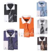 Fashion Polka Dot Design French Cuff Dress Shirt Style White Collar Two Toned Contrast Multi-Color Mens Dress
