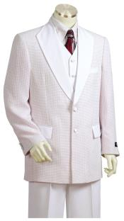 Polka Dots Shawl Lapel White Plain Zoot Suit