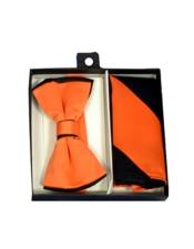 Polyester Black/Orange Satin dual colors classic Bowtie with hankie