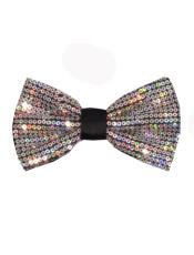 Polyester Sequin Bowtie Silver