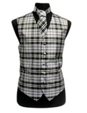 Black/White/Grey Slim Fit Polyester Plaid Design Vest/Bow Tie Fashion Set