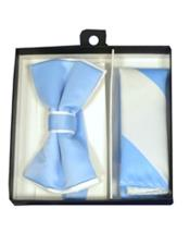 White / Light Blue Polyester Satin dual colors classic Bowtie with