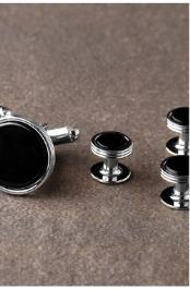 Onyx Triple Rim Silver Studs and Cufflinks Set Ike Evening by