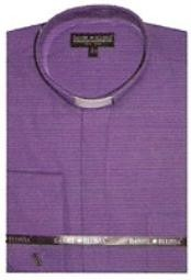 Mens mandarin collarless Preacher Round Style purple shirts~Poly&cotton fabric dress Mens Dress