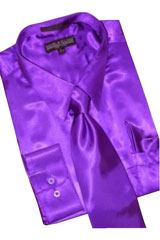 Cheap Sale Satin Purple Dress Shirt Combinations Set Tie Hanky