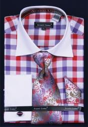 Tone Checker Pattern Purple Plaid Windowpane French Cuff Cotton/Poly Set Mens White Collar Dress Shirt