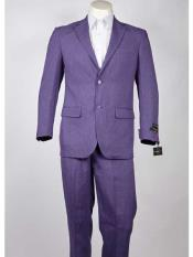 Mens Purple 2 Button  Slim Fit Suit
