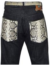 Mens Genuine Python Snake Skin Black Jeans