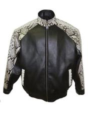 Mens Genuine Python Snake Skin Jacket Black