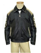 Mens Genuine Python Snake Skin/Leather Zipper Jacket