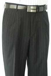 Mens Black Stripe Pleated Pre Cuffed Bottoms Pants