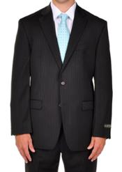 2 Buttons Notch Lapel Men suit separates Black Pinstripe Dress Suit