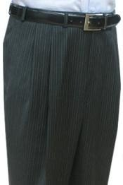 Quality Dress Slacks / Trousers Charcoal Multi Stripe Double Reverse Pleat