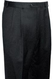 Quality Dress Slacks / Trousers Dark Grey Pleated Open Bottom Mens