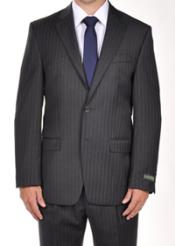 Buttons Notch Lapel Men suit separates Grey Pinstripe Dress Suit Portly CUT