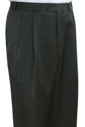 Super Quality Dress Slacks / Trousers Grey Stripe Pleated Mens Pants unhemmed