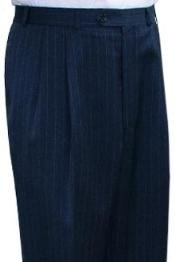 Super Quality Dress Slacks / Trousers Navy Blue Stripe Pleated Pre-Cuffed Bottoms
