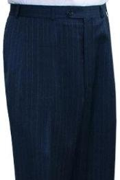Lauren Navy Blue stripe Flat Front Open Bottom unhemmed unfinished bottom