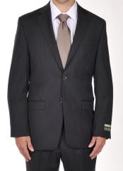 Buttons Notch Lapel Men suit separates Dark Navy Pinstripe Dress Suit