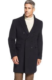 Brand Mens Dress Coat Lawrenceville Topcoat Double-Breasted Wool Blend Solid Overcoat