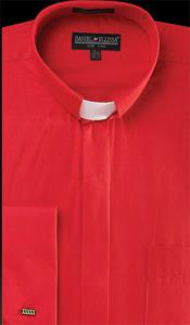 Cheap Priced Designer Sale Banded Collar Clergy Preacher Round Style Mandarin Collarless - French Cuff Red Mens