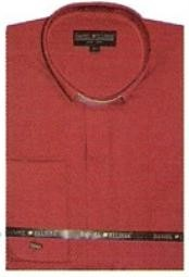 Red Collarless Dress Shirt