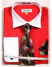 White Collared French Cuffed Red Dress Shirt with Tie/Hanky/Cufflink Set