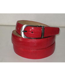 Genuine Authentic Red Lizard Belt