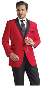 Red Two Button Notch Party Smoking Jacket Blazer Tuxedo Suit + Free Black Pants ( Velvet or