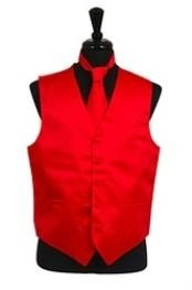 Tuxedo Wedding Vest ~ Waistcoat ~ Waist coat Tie Set Red Buy 10 of same color Tie