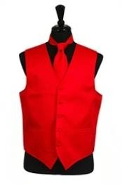 Rib Pattern Dress Tuxedo Wedding Vest Tie Set Red
