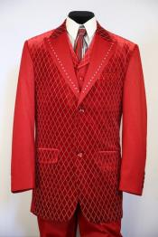 Peak Lapel Velvet Diamond Pattern Zoot Suit Red