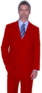 Mens Red Double Breasted Suit Pleated Pants