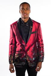 Dark Red Mens Flashy Shiny Sequin Blazer ~ Sport