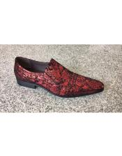 Brand Mens Man Made Red Foil Floral Pattern