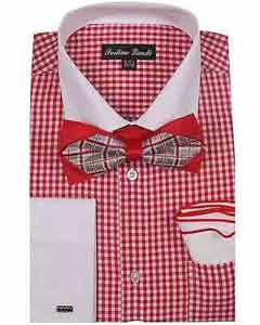 White Collar Two Toned Contrast Checks Design Red French CuffWith Bow Tie And Hanky Dress Shirt