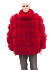 Fur Red Full Skin With Fox Collar Genuine Mink Jacket