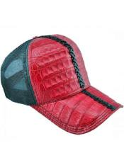 Ostrich World Best Alligator ~ Gator Skin Exotic Skin Baseball Cap CACHUCHA DE COCODRILO Red/Green