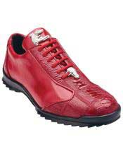 Authentic Genuine Skin Italian Paulo Genuine Ostrich / Soft Calfskin Red Casual Dress Sneaker