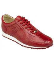 Red Lace Up Genuine Ostrich Casual Leather Sneakers