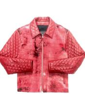 Mens Red Quilted Pony Hair Zipper Closure Bomber Jacket