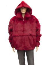 Mens Fur Red Genuine Full Skin Rabbit Detachable Hood Jacket