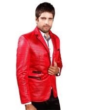 Mens Barabas Red Shiny Long Sleeve Regular Fit Quilted Design Blazer