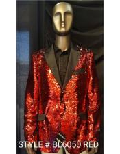 Mens Fashion Red Shiny Sequin Paisley Blazer Sport coat Tuxedo Jacket
