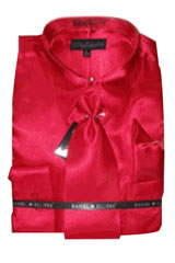 Cheap Sale Mens New Red Satin Dress Shirt Combinations Set Tie