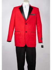 Mens Red Two Tone Trimming Notch Lapel 2 Button Single Breasted Tuxedo