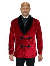 Mens Double Breasted Vintage Velvet Smoking Red Jacket
