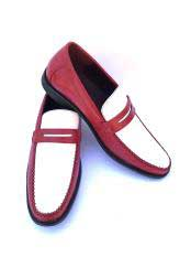 Mens Red And White Dress Shoes Slip-On Style Gator Fashionable Two Toned Loafers
