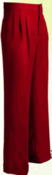rise big leg slacks Mens Wide Leg Triple Pleat Red Pant unhemmed unfinished bottom
